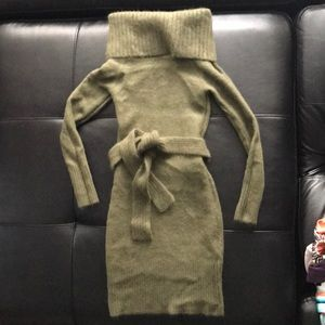 Olive green belted sweater dress